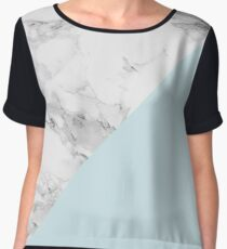 Marble + Blue Pastel Color. Classic Geometry. Women's Chiffon Top