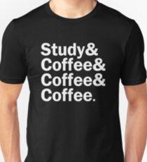 Study and Coffee and Coffee and Coffee | White Unisex T-Shirt