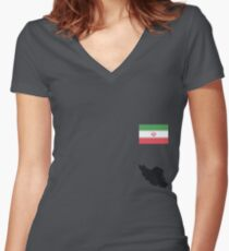 Iran Women's Fitted V-Neck T-Shirt