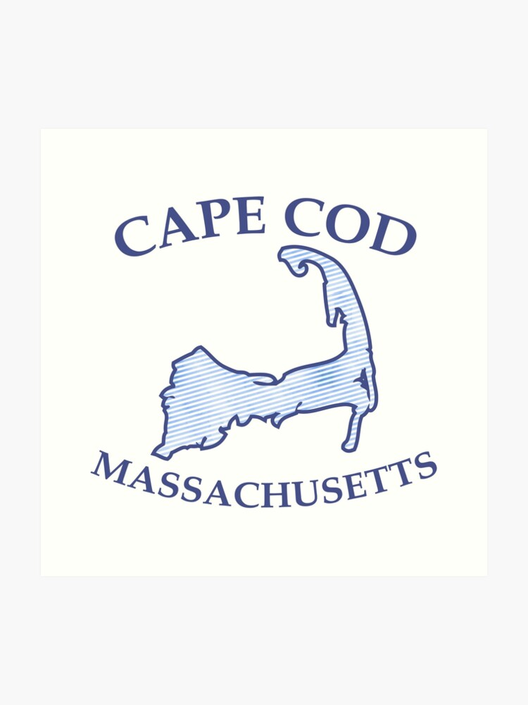 photo about Printable Map of Cape Cod named Preppy Typical Blue Cape Cod Machusetts Map Artwork Print