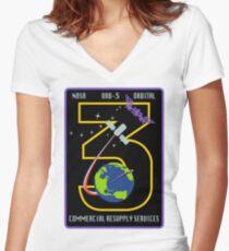 NASA: CRS Orb-3 Logo Women's Fitted V-Neck T-Shirt