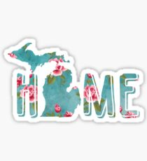 Michigan is Home Shabby Roses Pattern Sticker