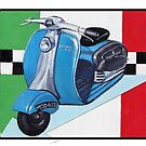 Mod Scooter with Italian Flag background by Andy  Housham