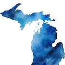 Michigan Blue Watercolor Silhouette by Cherie Balowski