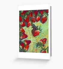 Strawberries on a table Greeting Card