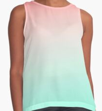 Ombre gradient digital illustration coral green colors Contrast Tank