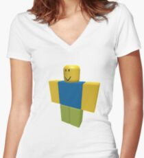 Roblox Noob 2 Women's Fitted V-Neck T-Shirt