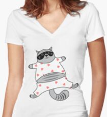 Relaxed Cats #RBSTAYCAY Women's Fitted V-Neck T-Shirt