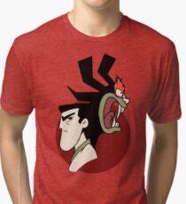 Samurai Jack and Aku - Red Tri-blend T-Shirt
