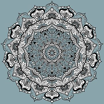 Mandala in Slate Blue, Black and White by LeahQuinnDesign