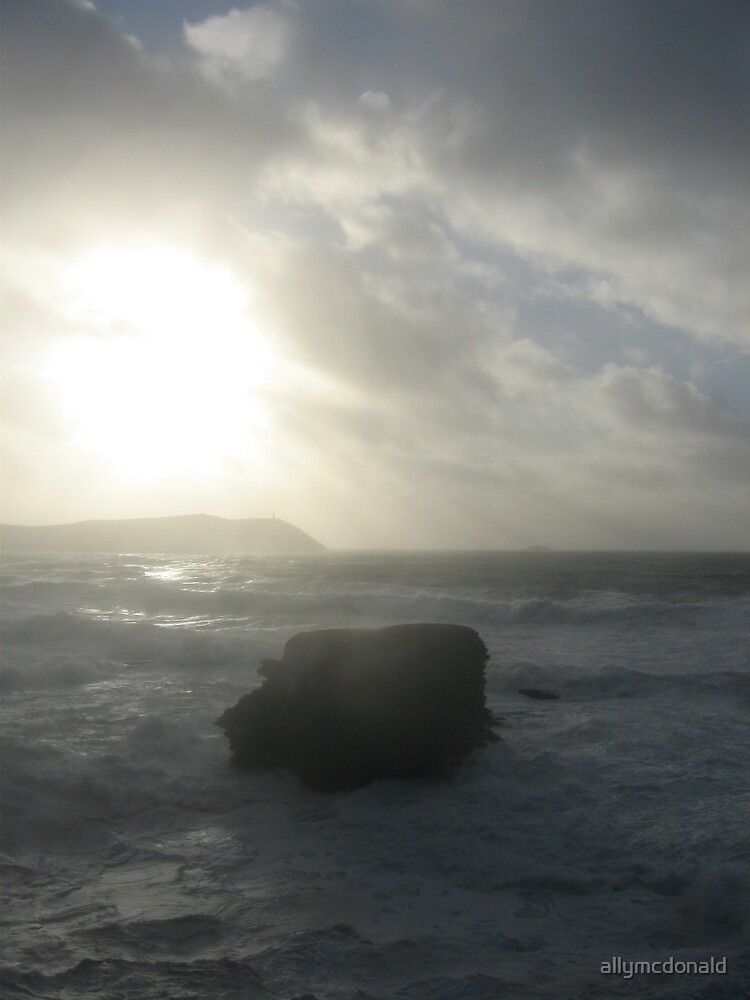 Sunset over storming cornish Sea by allymcdonald