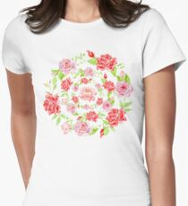 Bouquet of RED and PINK rose - wreath Womens Fitted T-Shirt