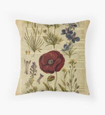 Botanical print, on old book page - flowers Throw Pillow