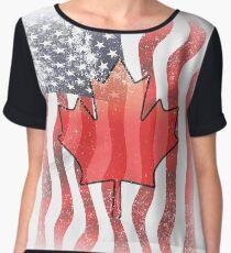 USA And Canada Women's Chiffon Top