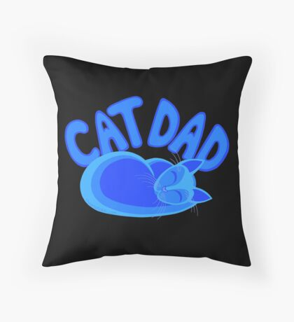 Cat Dad Blue Funny Cat Lover Design Throw Pillow