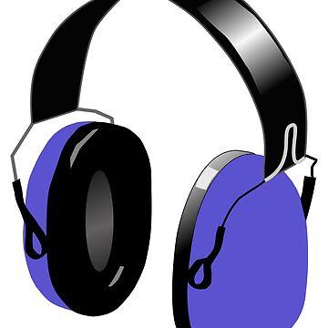 FUNKY BLUE HEADPHONES (DIGITAL ILLUSTRATION) by GayRiot