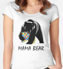 Autism Awareness Mom - Mama Bear TShirt Women's Fitted Scoop T-Shirt