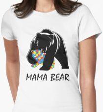 Autism Awareness Mom - Mama Bear TShirt Womens Fitted T-Shirt