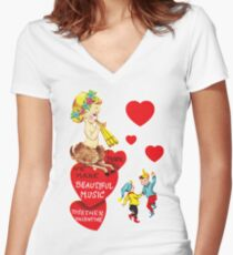 """""""I'm Faun'd of You"""" - Mythological, Creature, Deer, Faun, Girl, Goat, Half, Human, Goat, Red, Hearts, Dancing, Dance, Music, Song, Elves, Vintage, Valentine, Retro, Love, Cute    Women's Fitted V-Neck T-Shirt"""