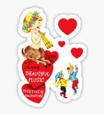 """I'm Faun'd of You"" - Mythological, Creature, Deer, Faun, Girl, Goat, Half, Human, Goat, Red, Hearts, Dancing, Dance, Music, Song, Elves, Vintage, Valentine, Retro, Love, Cute    Sticker"