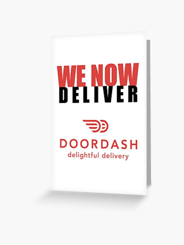 Doordash Restaurant Sign Sticker | We Now Deliver | Greeting Card