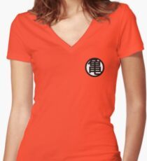 Dragon Ball Kame Symbol White Women's Fitted V-Neck T-Shirt