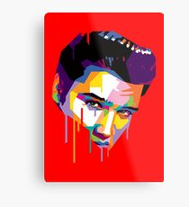 Elvis in Red Metal Print