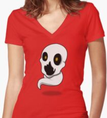 Spooky Ghost Women's Fitted V-Neck T-Shirt