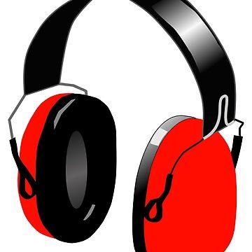 FUNKY RED HEADPHONES (MODERN DESIGN) by GayRiot