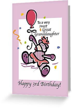 Great Granddaughter 3rd Birthday Bear Balloon