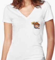 Pocket Sora Women's Fitted V-Neck T-Shirt
