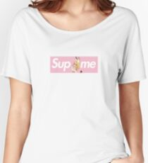 Kemono Friends Serval x Sup Me Parody Box Logo Pink Women's Relaxed Fit T-Shirt