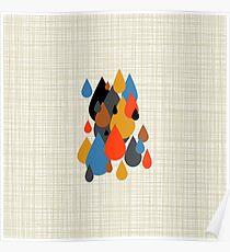 Mid Century Modern Rain Drops on Your Head Bkgrnd Poster