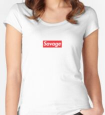 Supreme savage line Women's Fitted Scoop T-Shirt