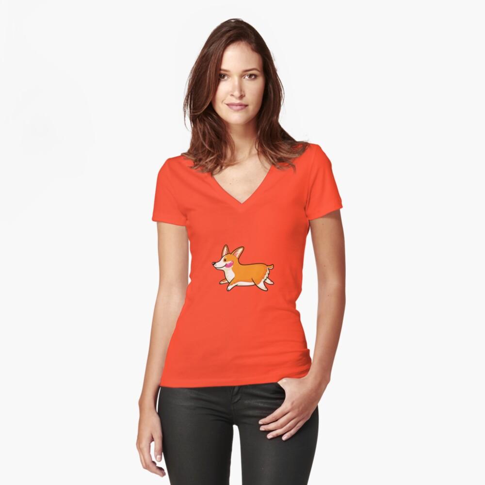 Corgi Tailliertes T-Shirt mit V-Ausschnitt