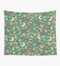 Gecko Family In Green Wall Tapestry