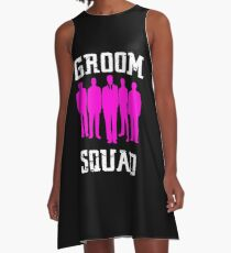 Groom Squad ,Pink and White Silhouette Groomsmen A-Line Dress