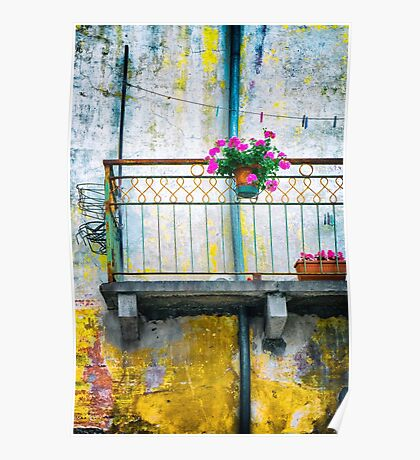 Geraniums on balcony Poster