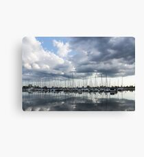Soft Silver - Reflecting on Boats and Clouds Canvas Print