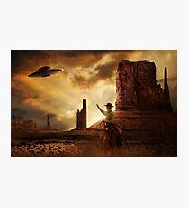 Cowboy & UFO Photographic Print