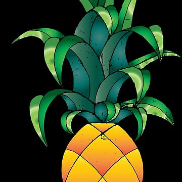 Big Pineapple on black by CharlieLondon