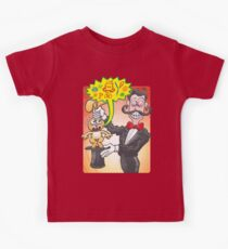 Furious bunny saying bad words when pulled out from magician's hat Kids Tee