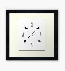 Minimal Black & White Compass Framed Print