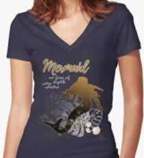 Mermaid - No Fear of Depth / Meerjungfrau Women's Fitted V-Neck T-Shirt