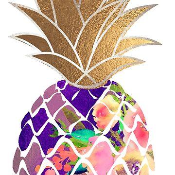 Aloha Ananas, lila + Kunstgold von PixDezines