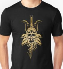 Skull in the samurai helmet Unisex T-Shirt