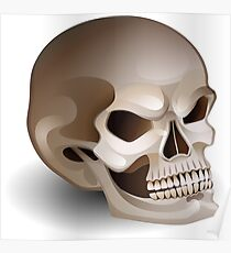 Graphic skull with fearful smile Poster