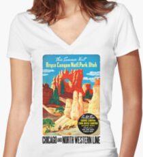 USA Utah Vintage Travel Poster Restored Women's Fitted V-Neck T-Shirt