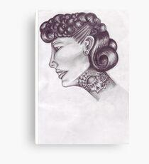 tattooed lady 50s style  Canvas Print