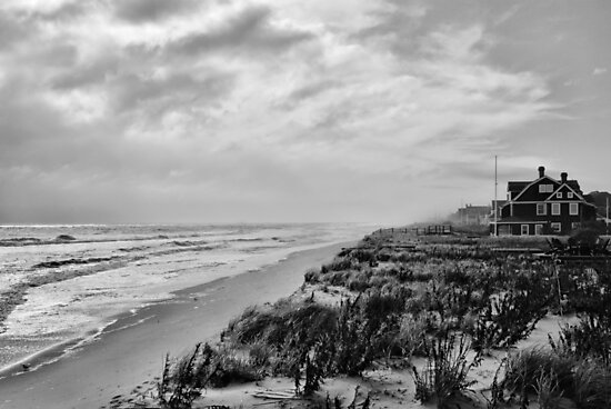 Mantoloking Beach in Black & White by Angie Tirado